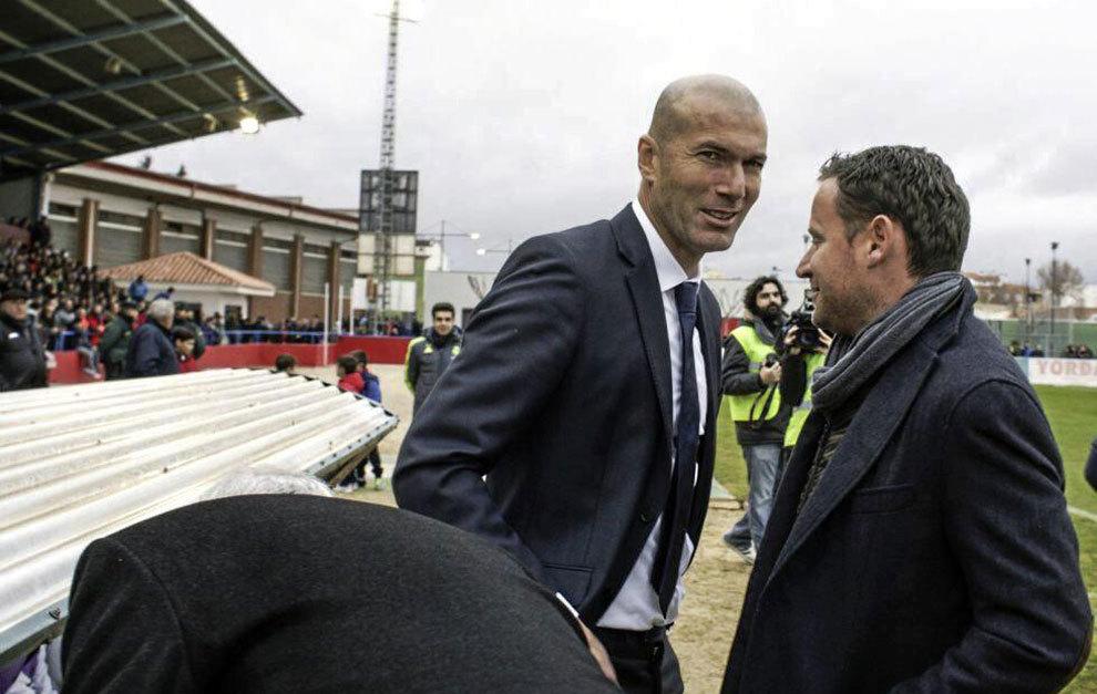 Zinedine Zidane, en el encuentro del Castilla con La Roda.