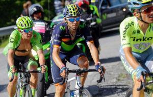 Alejandro Valverde, entre Rafal Majka y Rigoberto Urán en la...