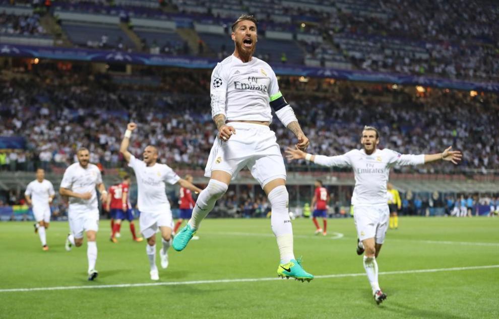 Ramos celebra el gol.