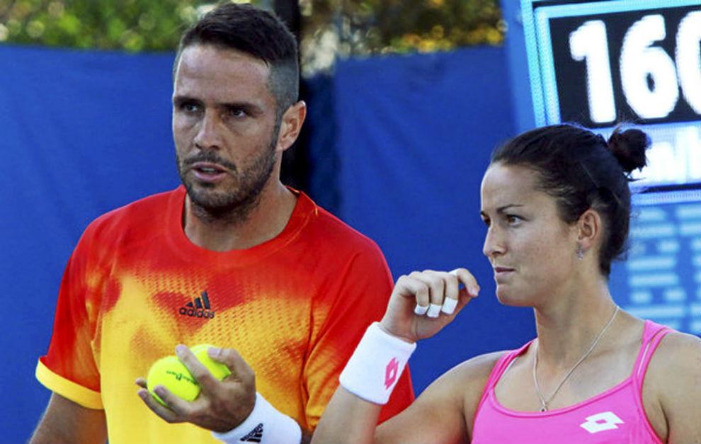 David Marrero y Lara Arruabarrena, durante un partido