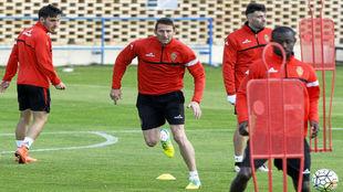 Rubén en un entrenamiento con el Real Zaragoza.