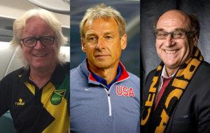 Winfried Schäfer, Jürgen Klinsmann y Patrice Neveu.