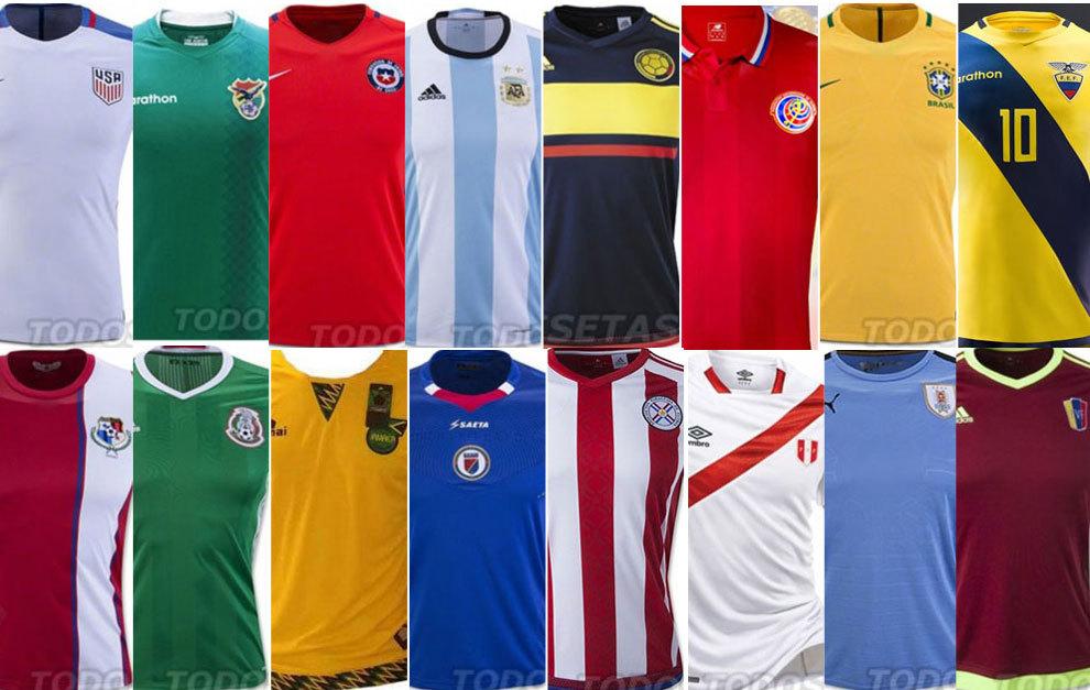 Las 16 camisetas que vestirán las selecciones en EE.UU. - México y ... f5da75ba4eb87