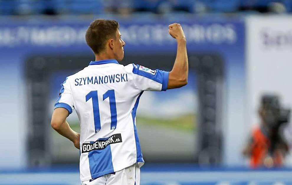 Szymanowski, con un gesto de alegría durante un partido