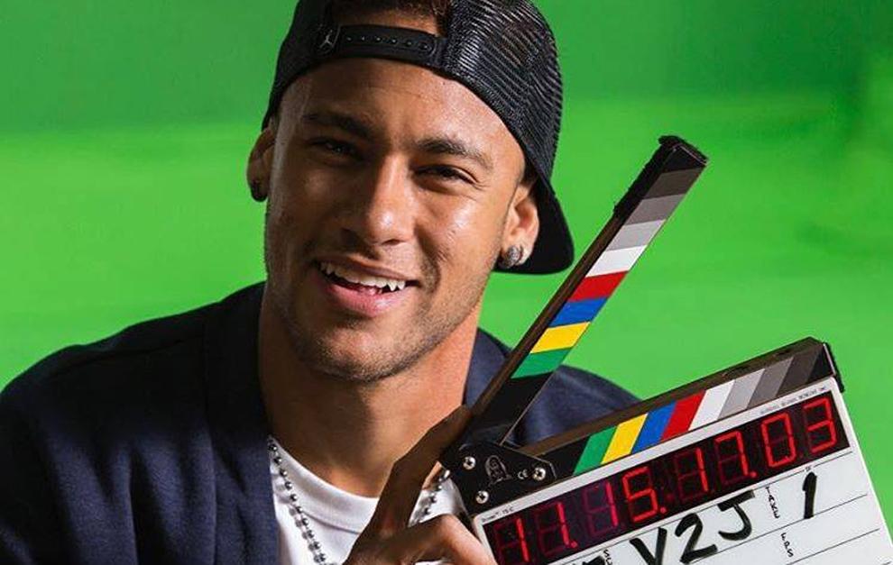 Neymar, durante el rodaje de la película.