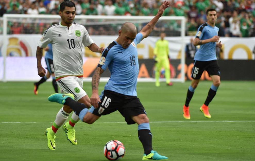 Pereira en un partido con Uruguay