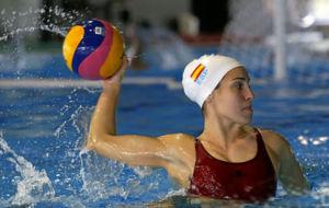 Anni Espar, durante una sesión de entrenamiento con España.