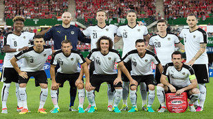 La selección austríaco antes de medirse a Holanda en un reciente...