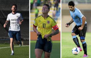 Leo Messi, James Rodr�guez y Luis Su�rez.