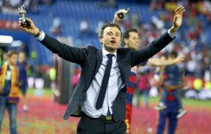Luis Enrique durante la celebraci�n de la Copa del Rey