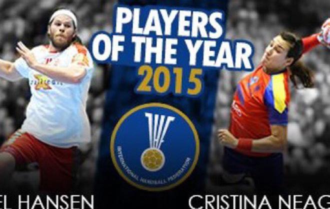 Cartel de los 'Mejores Jugadores' de 2015 con Mikkel Hansen y Cristina...