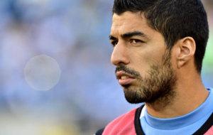 Luis Su�rez en el partido de Uruguay frente Venezuela.