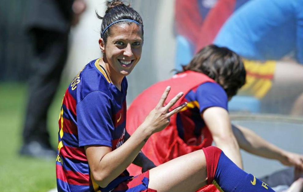 Jenni Hermoso tras un partido con el Barcelona.
