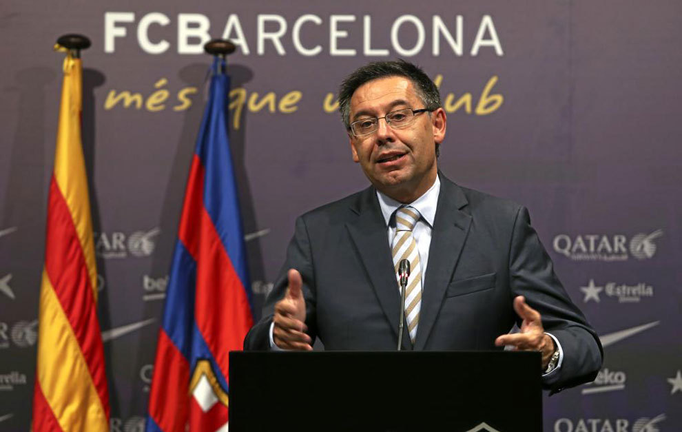Josep Maria Bartomeu, en comparecencia pública.