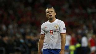 El ruso, Denis Glushakov, tras el partido contra Gales.