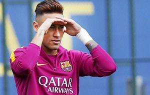 Neymar, durante un entrenamiento del Barcelona