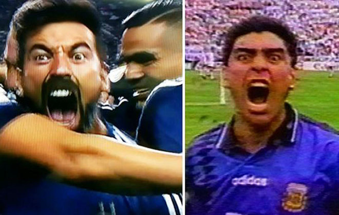 Así fueron las celebraciones de los goles de Lavezzi y Maradona.