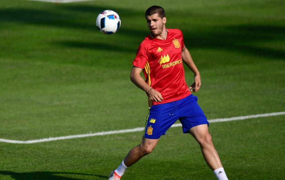 Morata, durante un entrenamiento con la selección.