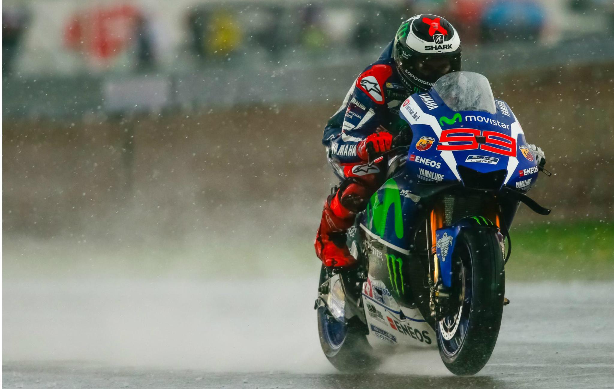 Jorge Lorenzo bajo la lluvia del GP de Holanda 2016