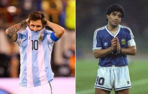 Messi y Maradona, en distintas etapas con la 'albiceleste'.