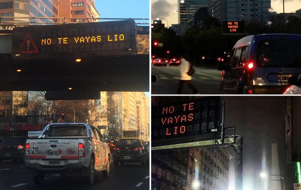 Los paneles de las carreteras de Buenos Aires y también del metro...
