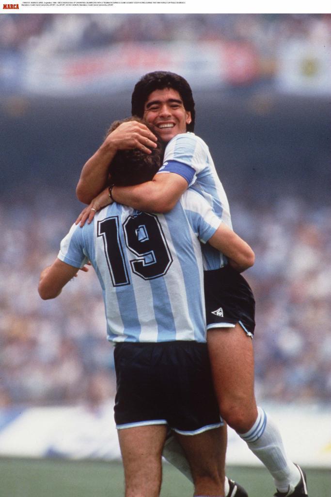 Maradona, celebrando un gol en el Mundial 1986.