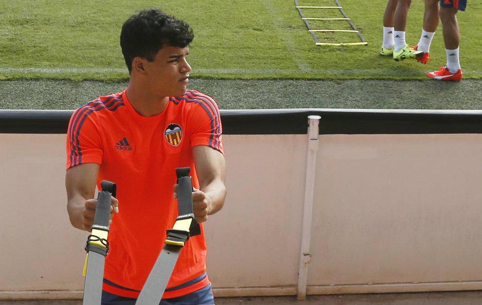 Danilo (20), durante un entrenamiento en Paterna la temporada que...