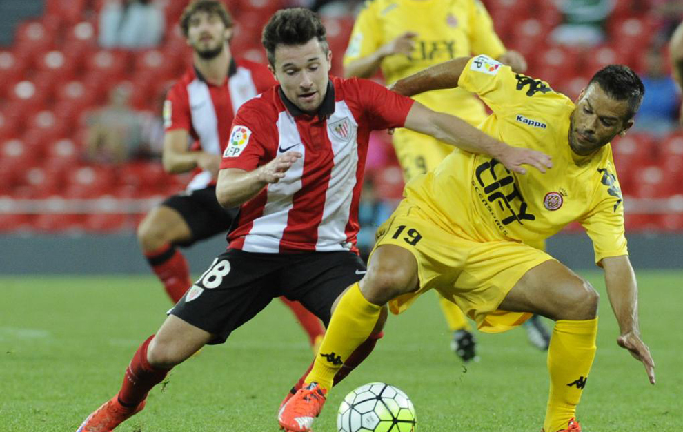 Iriondo, en un partido con el Bilbao Athletic ante el Girona.