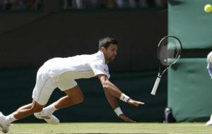 Djokovic se cae en el suelo
