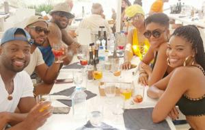 LeBron James, Chris Paul y Dwyane Wade y sus respectivas esposas...