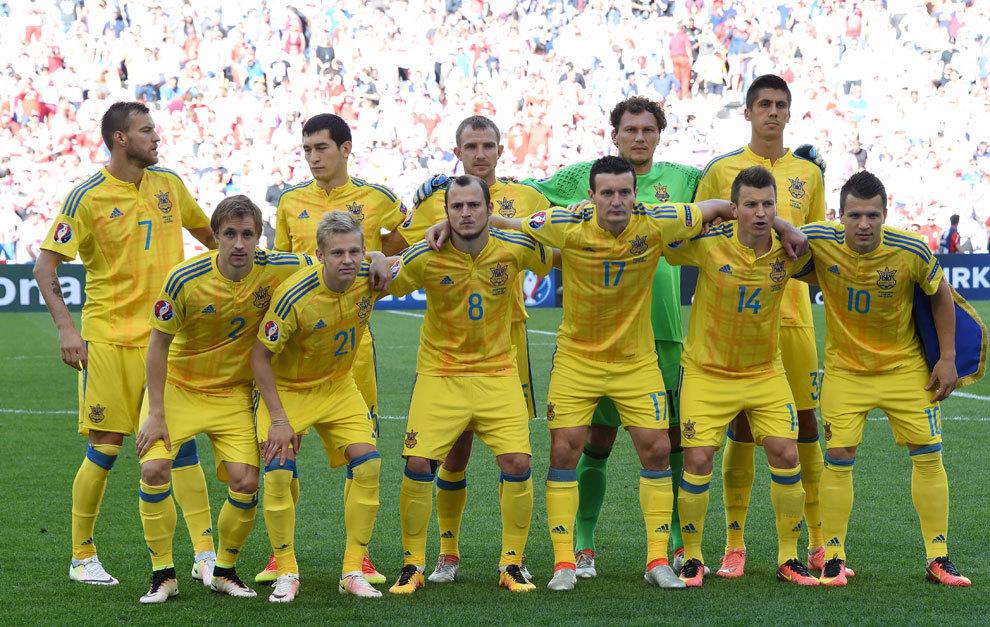 Foto oficial del equipo ucraniano antes de un partido de la Euro