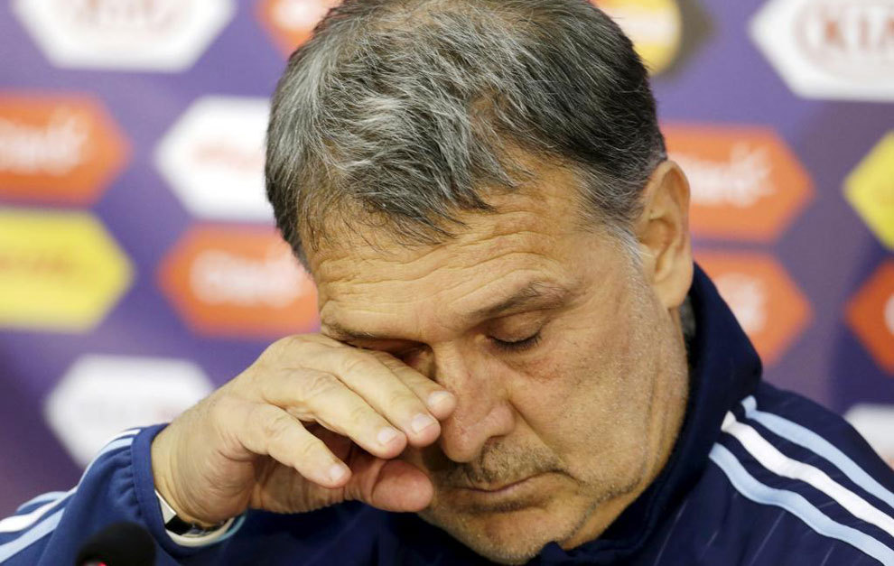 Martino en una rueda de prensa con selección argentina.