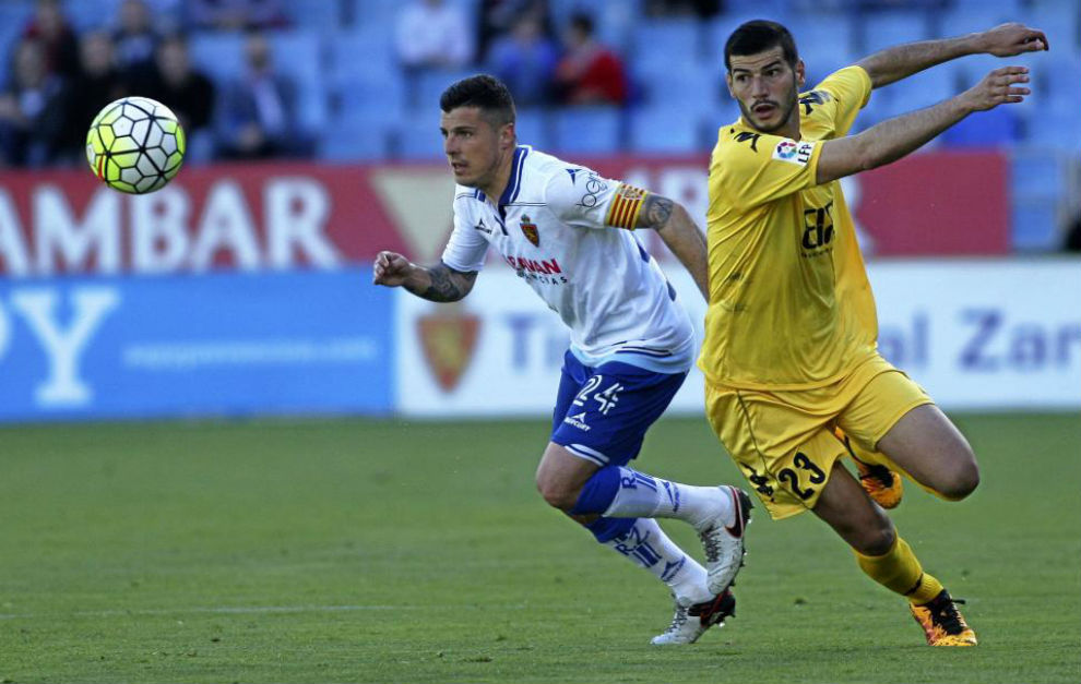Abraham durante un partido con el Real Zaragoza de la última...