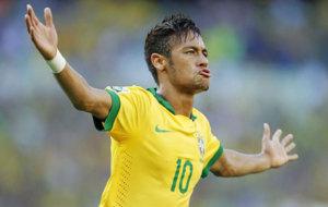 Neymar celebra con la selecci�n brasilera.