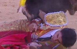 V�ctor Barrio, en el momento de la cornada sufrida en Teruel por el...