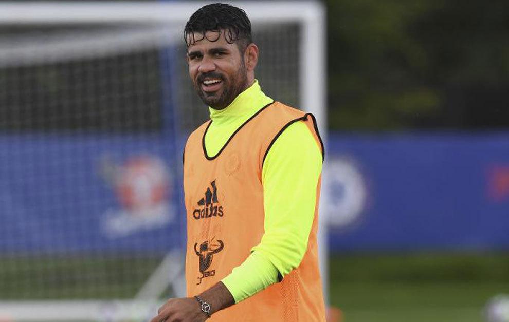 Diego Costa, en el entrenamiento del Chelsea.