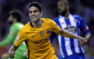 Bartra celebra su �ltimo gol con el Bar�a.