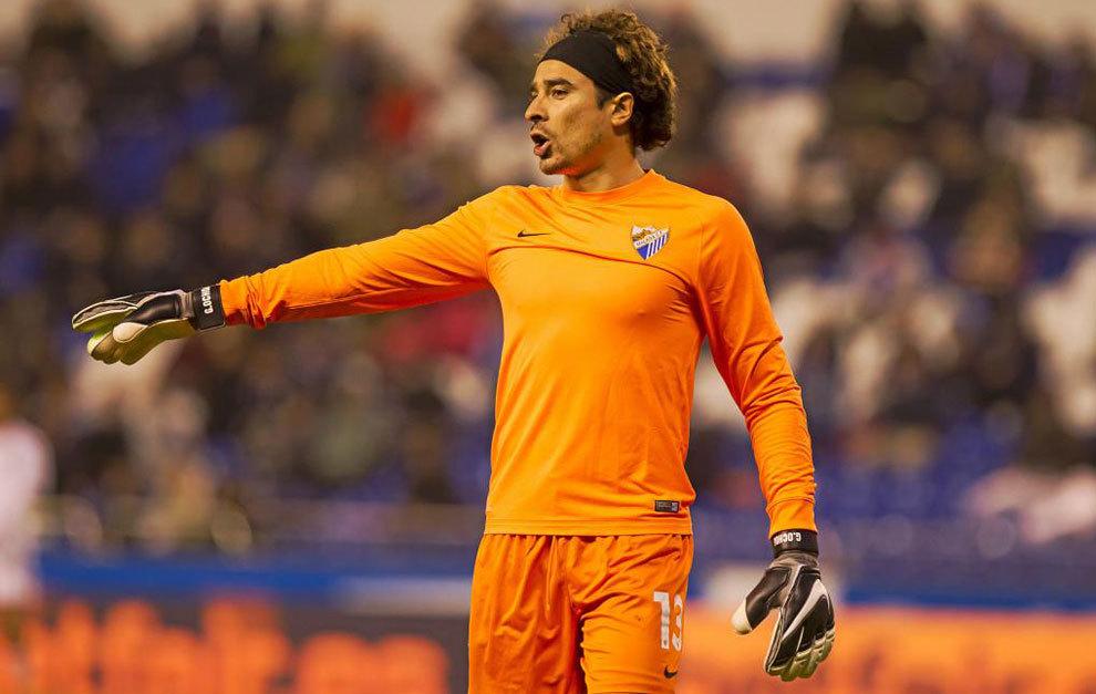 Ochoa, en un partido con el Málaga.