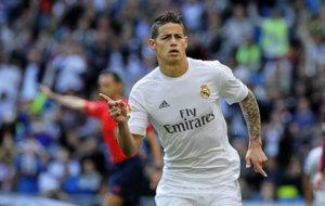 James celebra uno de sus goles con e Real Madrid.