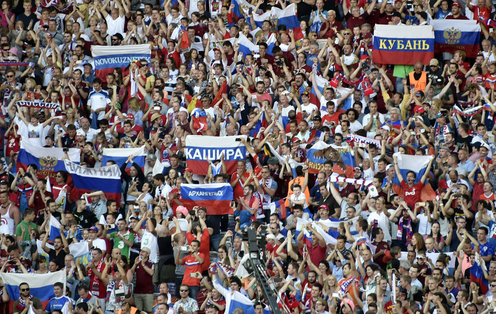 Afición rusa durante el encuentro contra Gales en la Eurocopa.