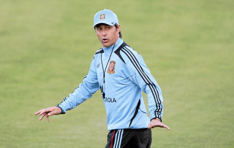 Julen Lopetegui, en un entrenamiento con la selección sub 21.
