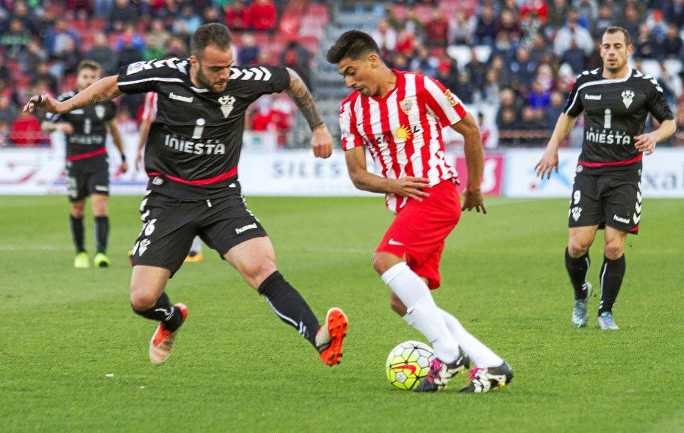 Edu Ramos durante un partido con el Albacete la pasada temporada.