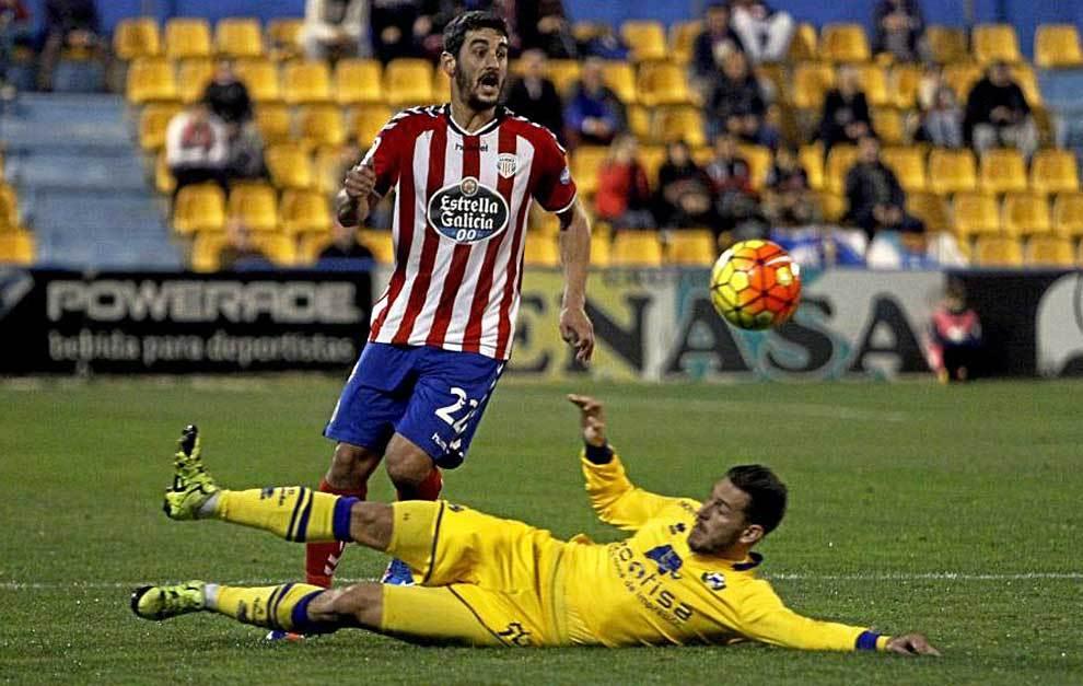 Pau Cendrós, durante el partido del Lugo en Alcorcón