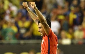 Jara celebra con la selecci�n chilena.