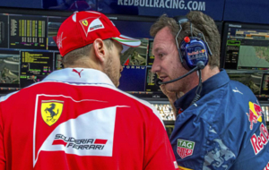 Vettel y Horner durante el pasado gran premio de Rusia