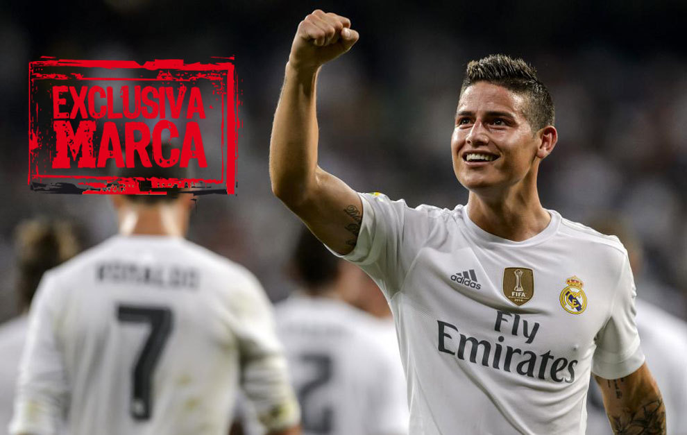 James celebra un gol con el Real Madrid