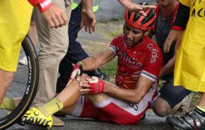 Dani Navarro, en el momento de su caída.