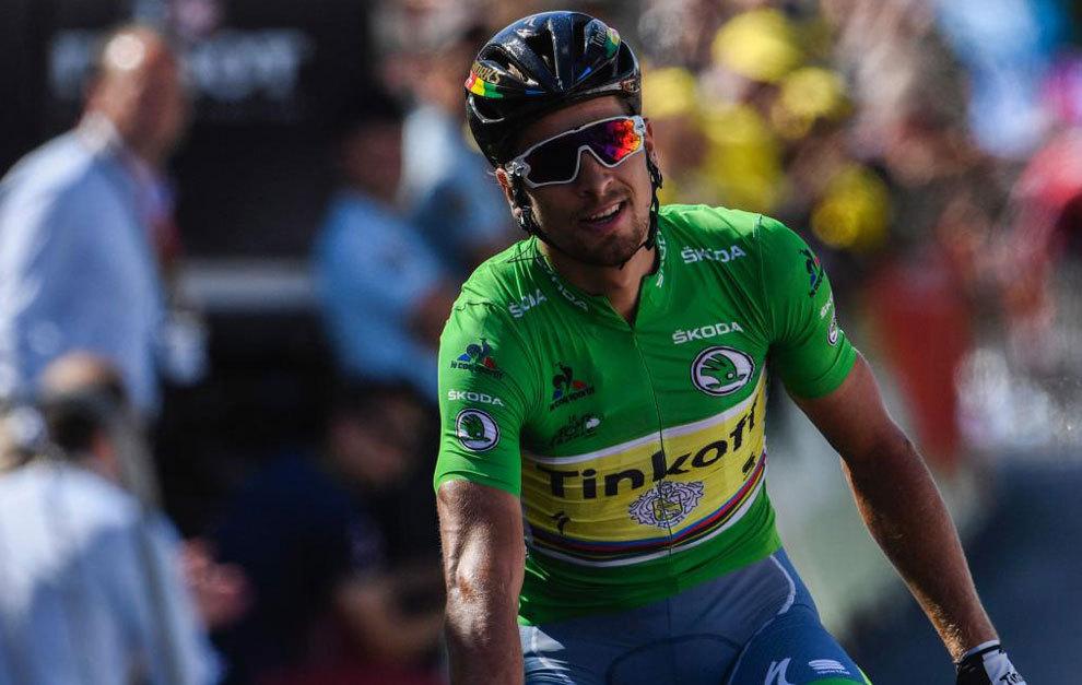 Sagan, celebrando su victoria en la undécima etapa del Tour.