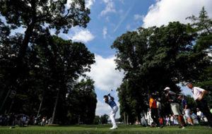 Bubba Watson, durante un entrenamiento del PGA