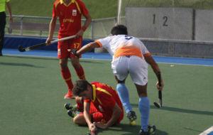 Una jugada del partido entre España e India.